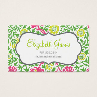 Green and Pink Retro Floral Damask Business Card