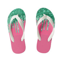 Green and Pink Shiny Glitter Dripping Watermelon Kid's Flip Flops
