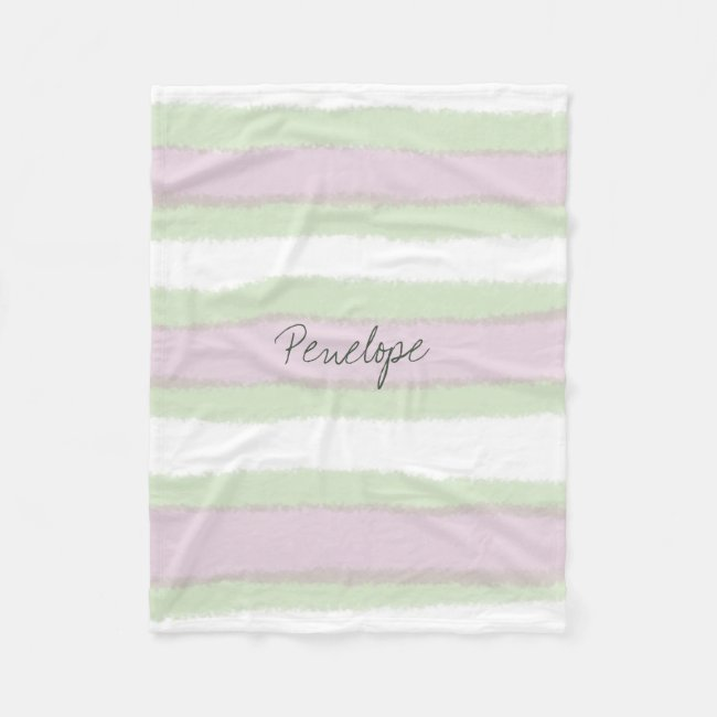 Green and Pink Striped Pattern Add your Name