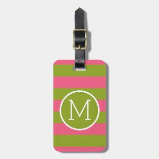 Green and Pink Striped Pattern Custom Monogram Bag Tag