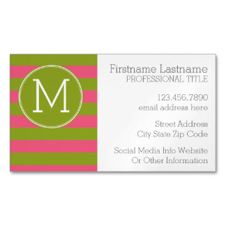 Green and Pink Striped Pattern Custom Monogram Business Card Magnet