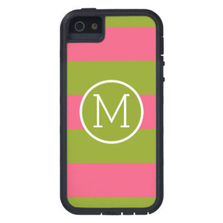 Green and Pink Striped Pattern Custom Monogram iPhone 5 Cover