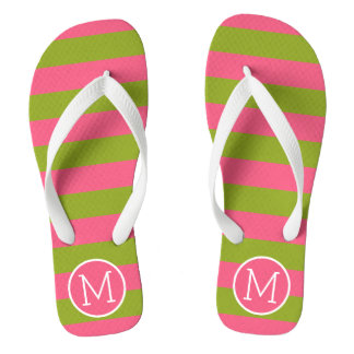 Green and Pink Striped Pattern Custom Monogram Flip Flops