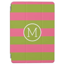 Green and Pink Striped Pattern Custom Monogram iPad Air Cover