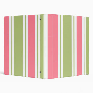 Green And Pink Striped School Notebook Binder