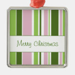 Green and Pink Stripes Christmas Tree Ornament