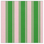 [ Thumbnail: Green and Pink Stripes/Lines Pattern Fabric ]