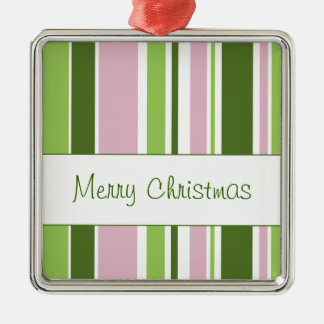 Green and Pink Stripes Metal Ornament