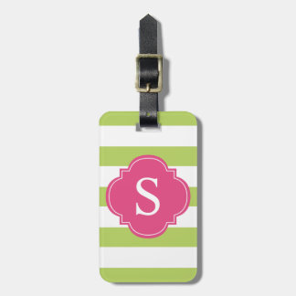 Green and Pink Stripes Monogram Tag For Bags