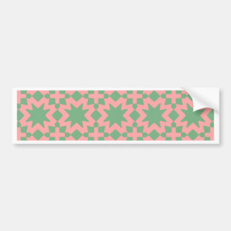 Green and Pink Stylish Chic Decorative Pattern Car Bumper Sticker