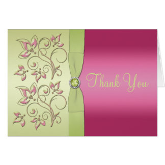 Green and pink Thank You Note Card Greeting Card