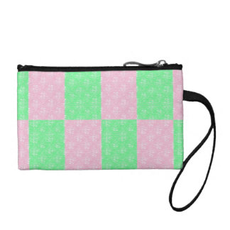 Green and Pink tiles key coin clutch