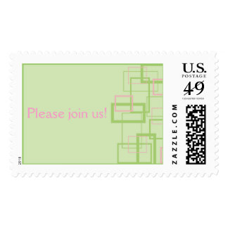 Green and Pink Trendy Squares Postage