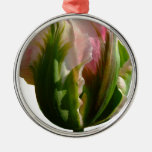Green and Pink Tulip Christmas Ornaments