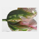 Green and Pink Tulip Hand Towels