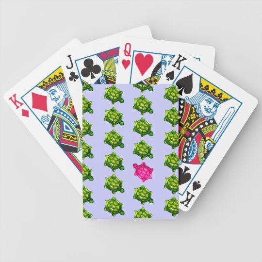 Green and Pink Turtle Pattern Bicycle Playing Cards