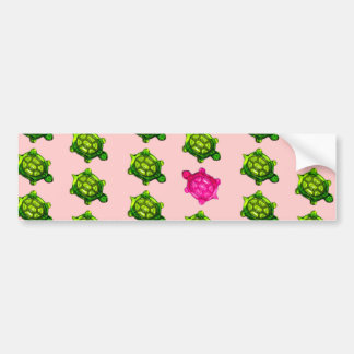 Green and Pink Turtle Pattern Bumper Sticker