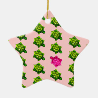 Green and Pink Turtle Pattern Ceramic Ornament