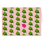 Green and Pink Turtle Pattern Greeting Card