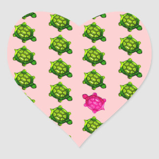 Green and Pink Turtle Pattern Heart Sticker
