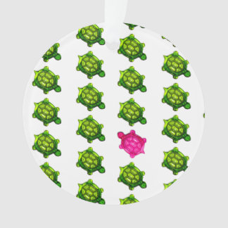 Green and Pink Turtle Pattern Ornament