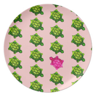 Green and Pink Turtle Pattern Plates
