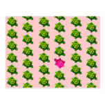 Green and Pink Turtle Pattern Postcard