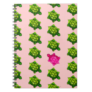 Green and Pink Turtle Pattern Spiral Notebook