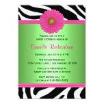 Green and Pink, Zebra Sweet Sixteen Invitation