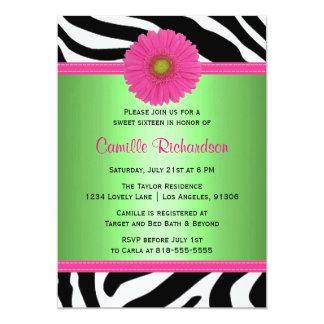"Green and Pink, Zebra Sweet Sixteen Invitation 5"" X 7"" Invitation Card"