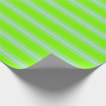 [ Thumbnail: Green and Powder Blue Lined/Striped Pattern Wrapping Paper ]