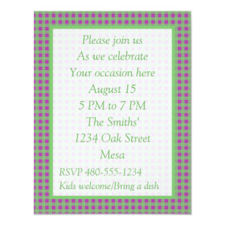 Green and Purpl Gingham - All Purpose Party Invite