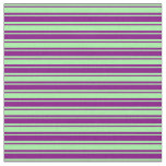 [ Thumbnail: Green and Purple Colored Lines/Stripes Pattern Fabric ]
