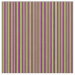 [ Thumbnail: Green and Purple Colored Pattern of Stripes Fabric ]