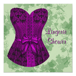 Green and Purple Corset Bridal Shower Card