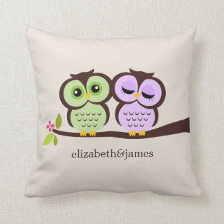 Green and Purple Custom Throw Pillow
