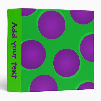 Green and Purple Dots Customizable Binder