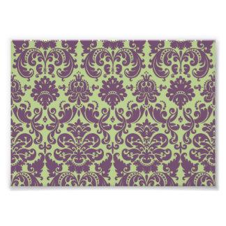 Green and Purple Elegant Damask Pattern Art Photo