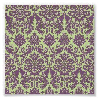 Green and Purple Elegant Damask Pattern Photo