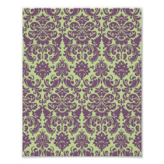 Green and Purple Elegant Damask Pattern Photo Print