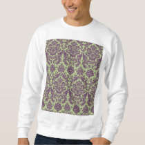 Green and Purple Elegant Damask Pattern Sweatshirt