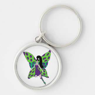 Green and purple fairy key chain