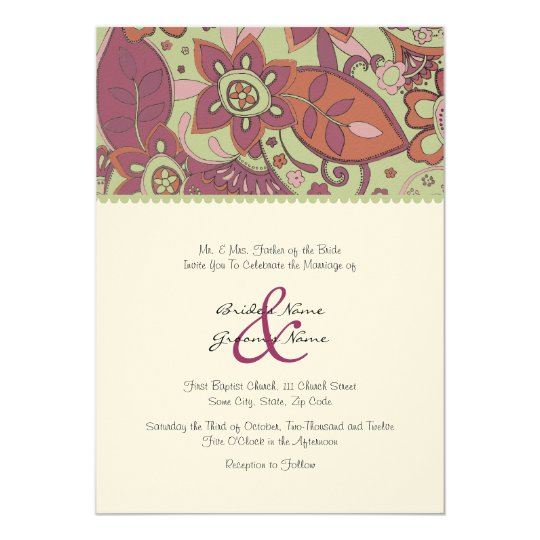 Green and Purple Fall Floral Wedding Invitation