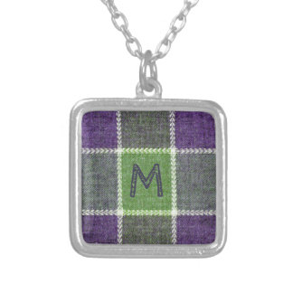 Green and Purple Flannel Texture with Monogram Silver Plated Necklace
