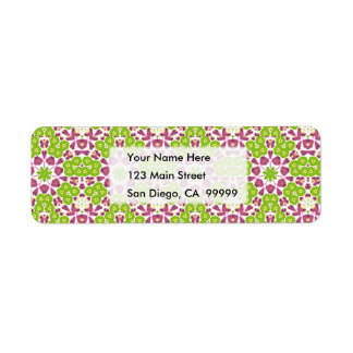 Green and Purple Floral Medallion Label