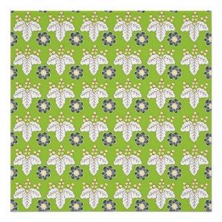 Green and Purple Floral Pattern Spring Wallpaper Poster