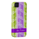 Green and purple floral pattern with stripes iPhone 4 Case-Mate case