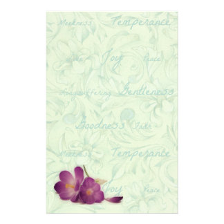 Green and Purple Flower Fruits of the Spirit Personalized Stationery