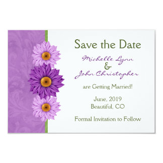 Green and Purple Flowers Wedding Save the Date 3.5x5 Paper Invitation Card