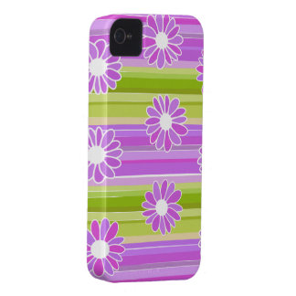 Green and purple flowers with stripes iPhone 4 cover